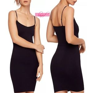 Free People Seamless Mini Black Dress Slip V-Neck